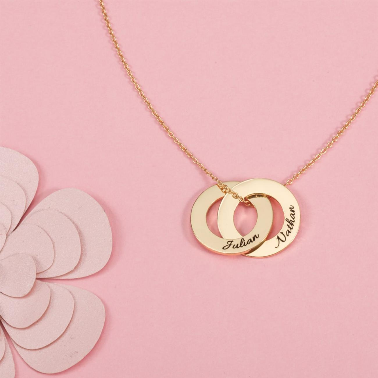 2 rings necklace with engraving
