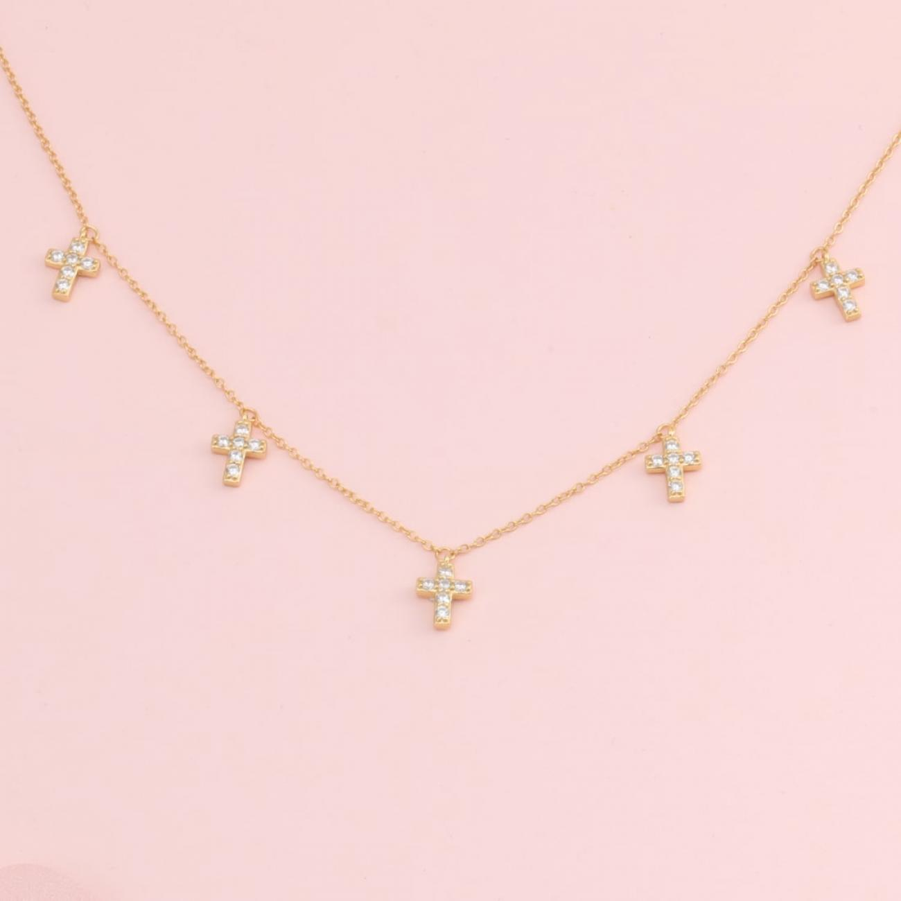 Mini Crosses Crystal Necklace