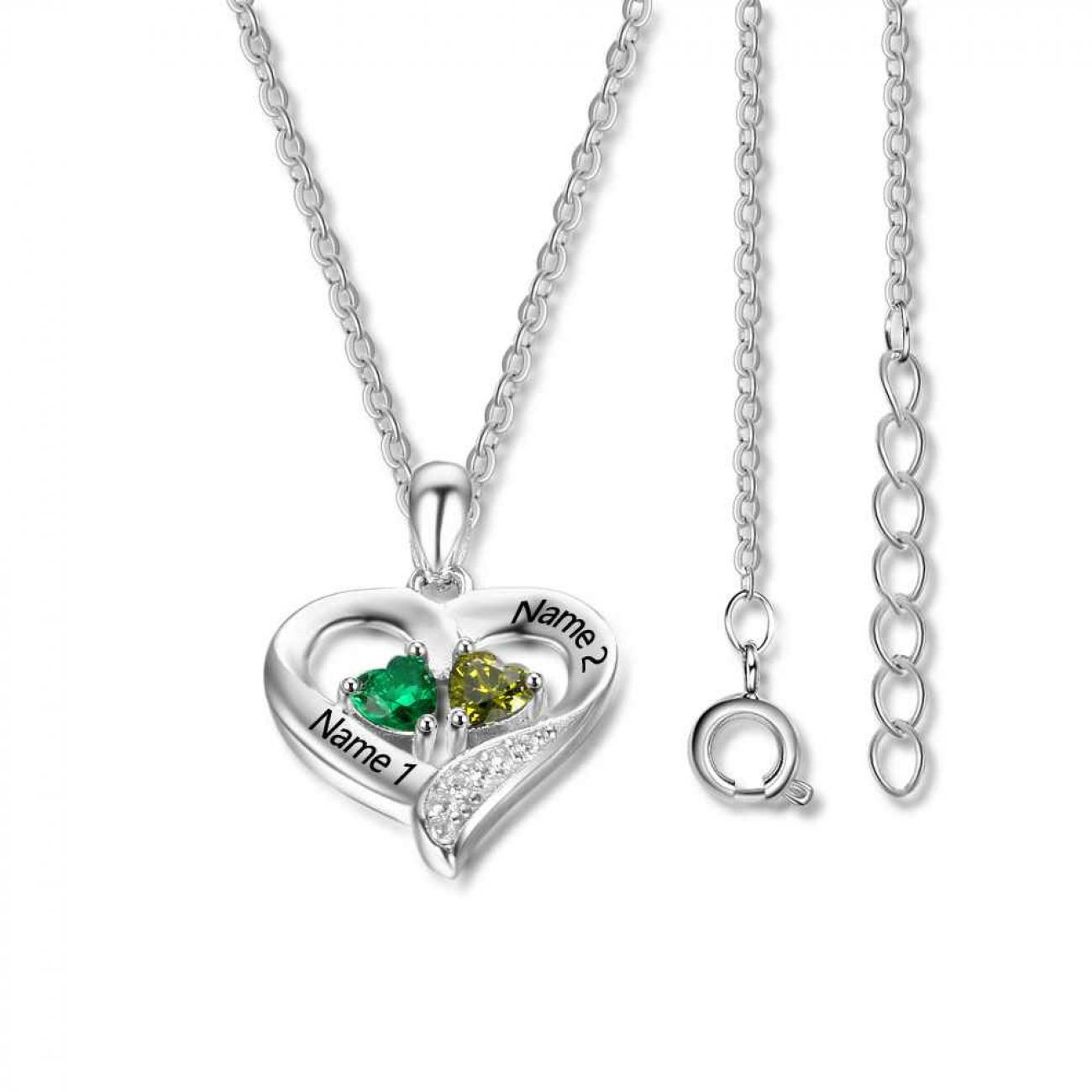 Heart Necklace with Heart Stones