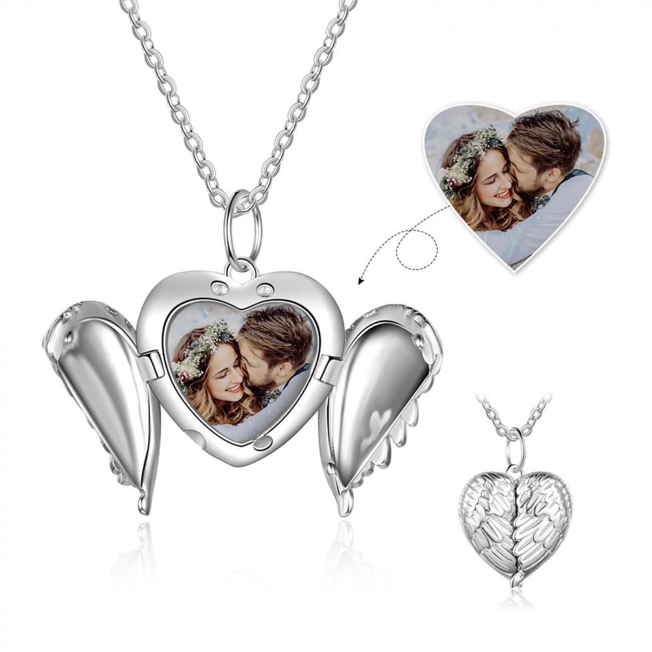 Angel Wings Heart Photo Necklace
